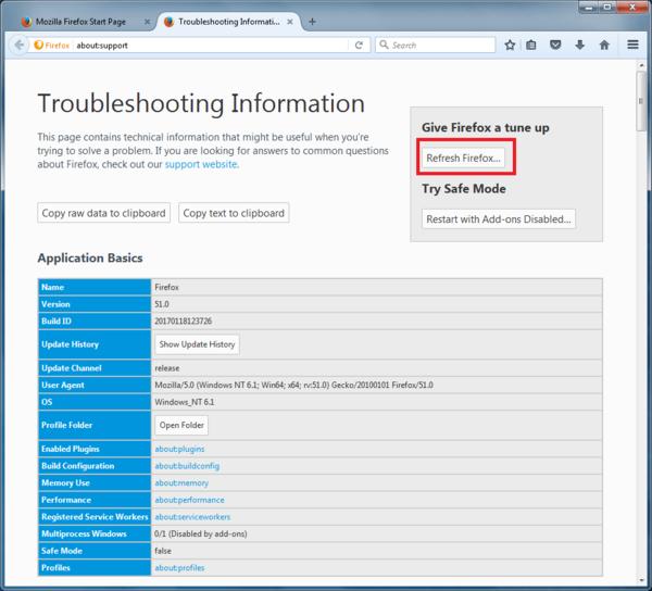 Кнопка Refresh Firefox на странице Troubleshooting Information