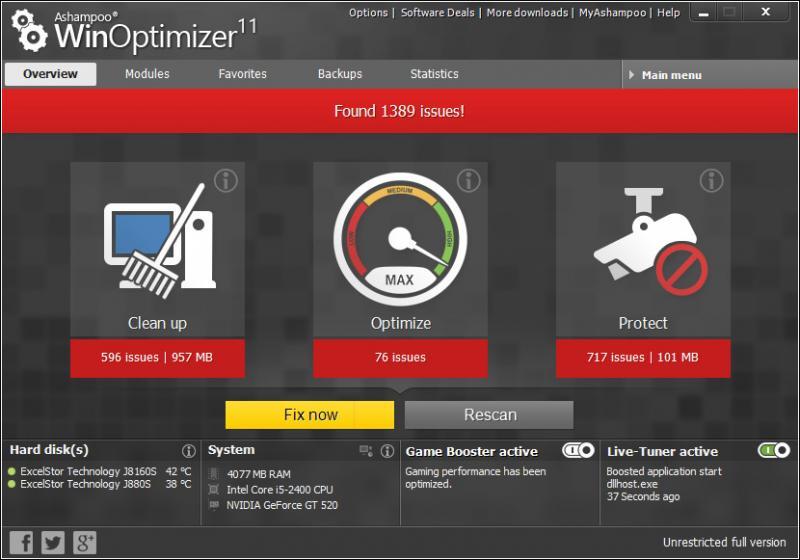 Интерфейс программы WinOptimizer Free