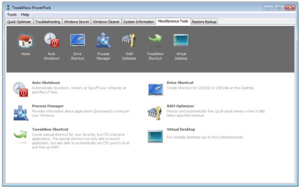 Интерфейс программы TweakNow PowerPack