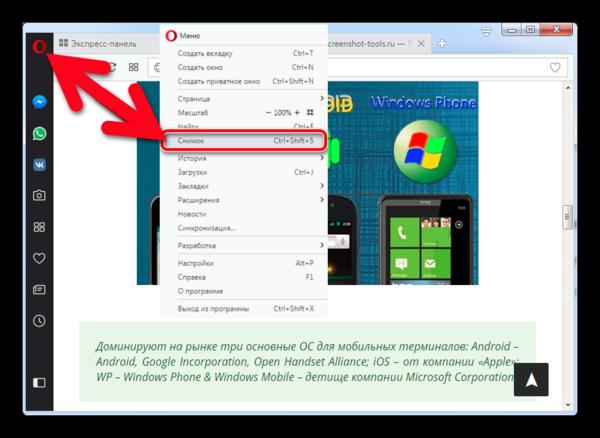 Для активации скриншота переходим в настройки браузера и находим вкладку «Снимок экрана»