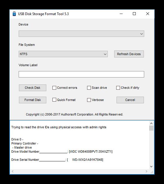 Главный экран HP USB Disk Storage Format Tool