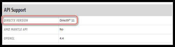 Информация о максимальной поддерживаемой мобильной видеокартой версии библиотеки DirectX на официальном сайте AMD