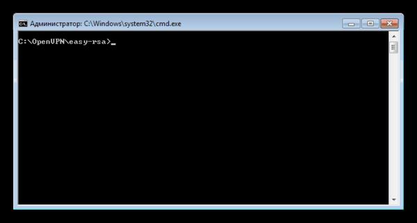 Командная строка с переходом в целевой каталог при настройке сервера OpenVPN