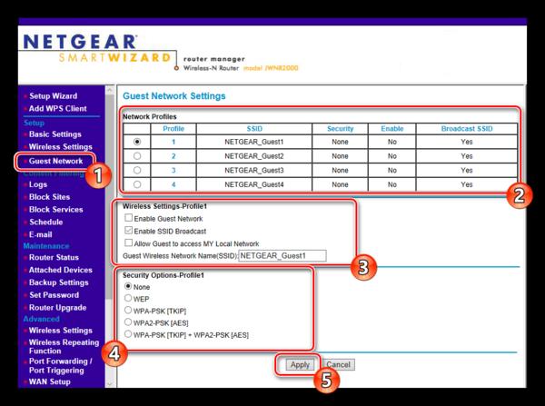 Настройки гостевой сети роутера NETGEAR