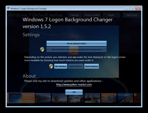 Настройки в программе Windows 7 Logon Background Changer