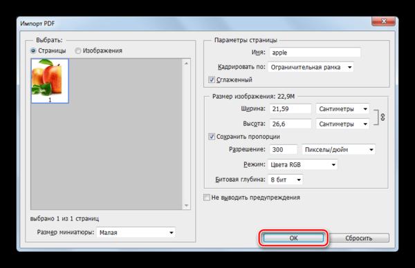 Окно импорт PDF в программе Adobe Photoshop