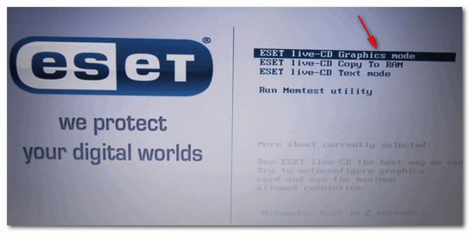 Окно приветствия ESET - выбор режима загрузки (графический, текстовый)