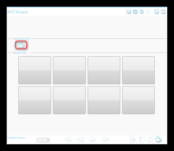 Открыть новый файл XPS Viewer