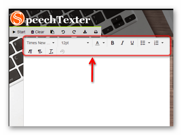 Панель форматирования текста в Speechtexter