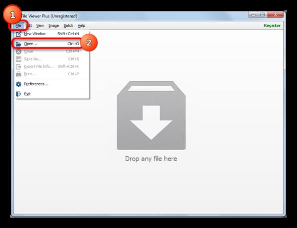 Переход в окно открытия файла в File Viewer Plus