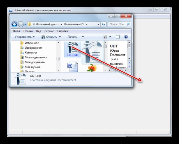 Перетягивания файла ODT из окна Проводника Windows в окно программы Universal Viewer
