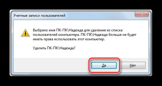 Подтверждение удаления учетной записи пользователя в диалоговом окне в Windows 7