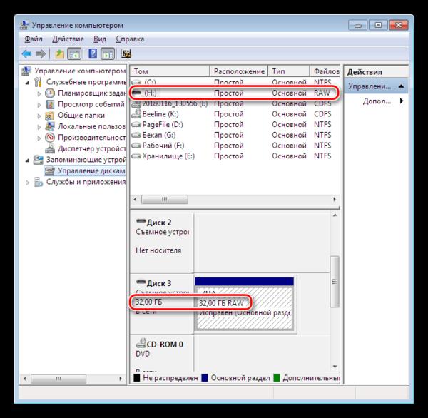 Размер и файловая система диска в Windows