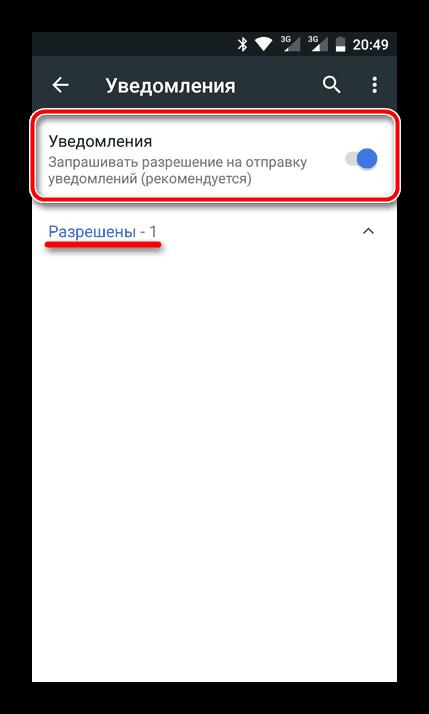 Разрешенные уведомления в мобильном Google Chrome