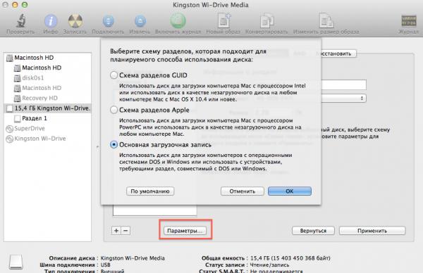 Схемы разделов на Mac