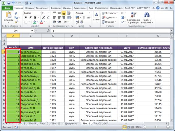 Таблица пронумерована в программе Microsoft Excel