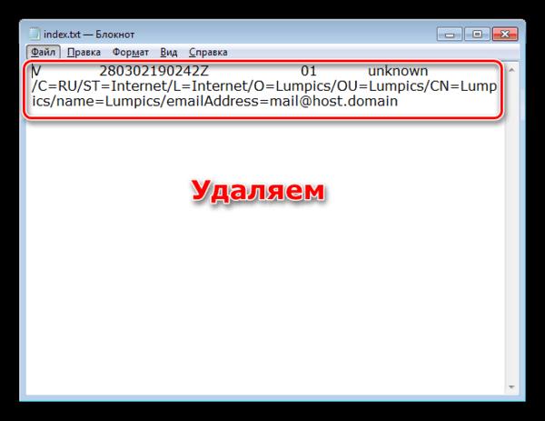 Удаление информации из файла index на сервере OpenVPN