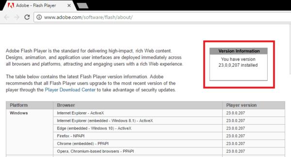 Версия Flash Player на сайте