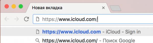Вводим в адресной строке браузера следующую строчку www.icloud.com и нажимаем клавишу Enter