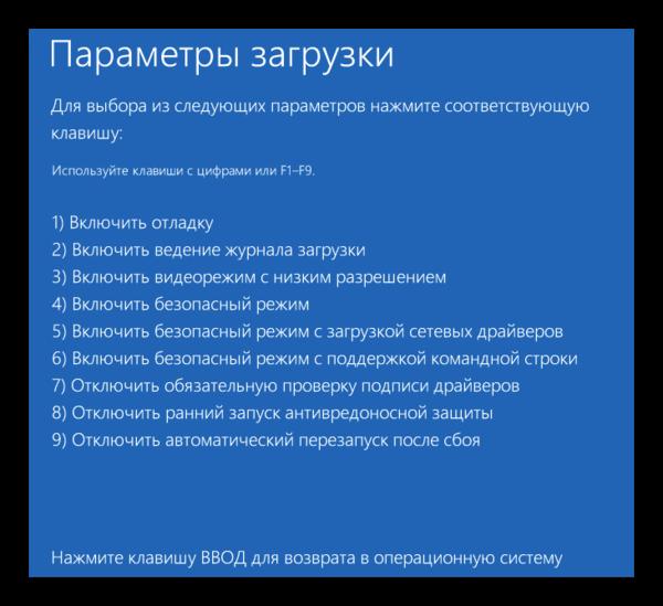 Windows 8 Параметры загрузки
