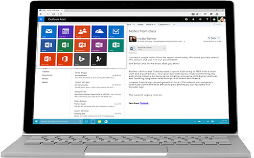 A laptop displaying a free suite of apps/features to use with Outlook to help you be more productive.