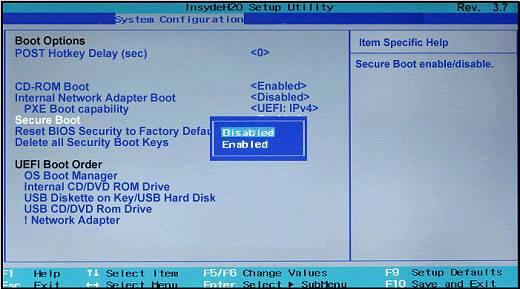 kak otkluchit Secure Boot HP