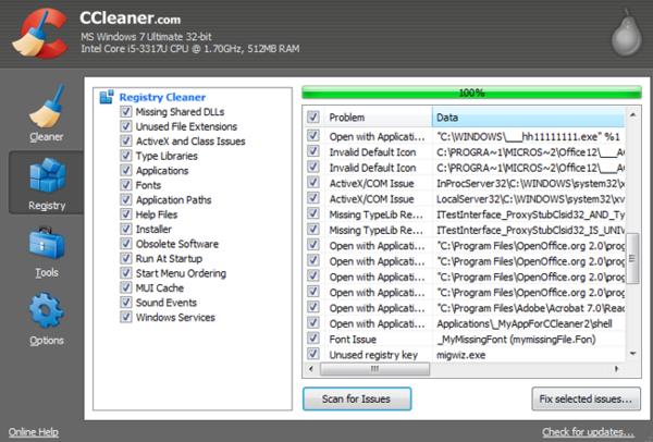 чистка реестра Windows 7