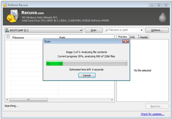 Recuva - одна из программ для восстановления удаленных файлов
