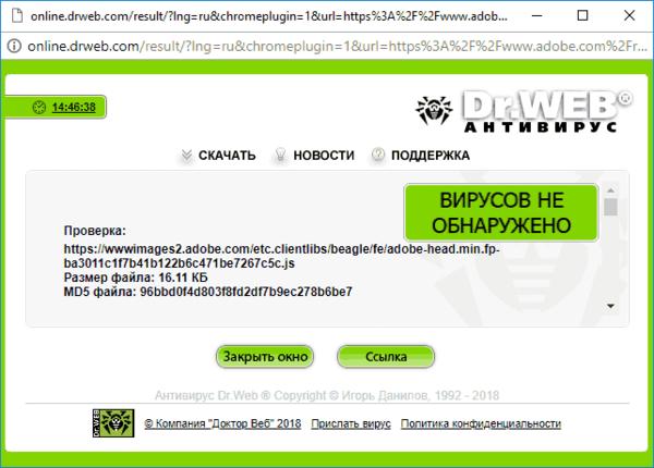 Результат проверки сайта в Dr. Web
