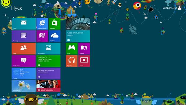 Выбор темы начального экрана Windows 8
