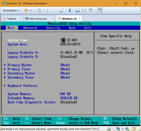 эмуляция bios vmware workstation