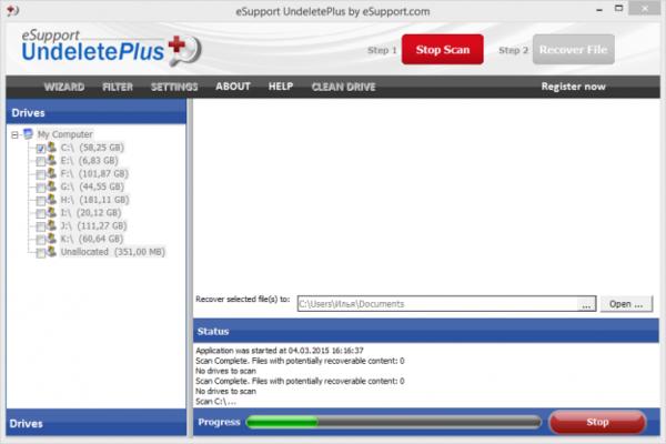 Как вернуть данные на жесткий диск в Undelete Plus