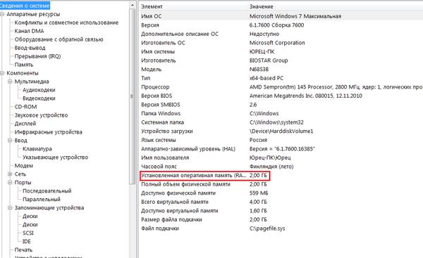 Рис.5. Данные о памяти в утилите msinfo32.