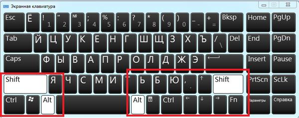 Применение комбинации клавиш