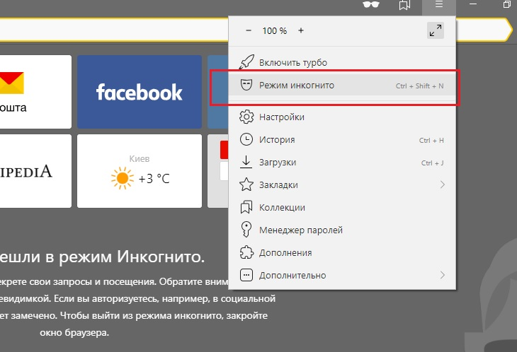 Режим инкогнито Яндекс браузера