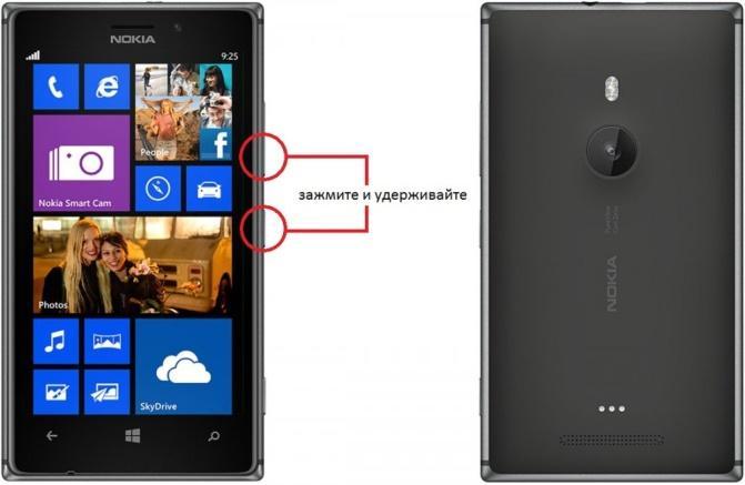 Кнопки сброса настроек Nokia