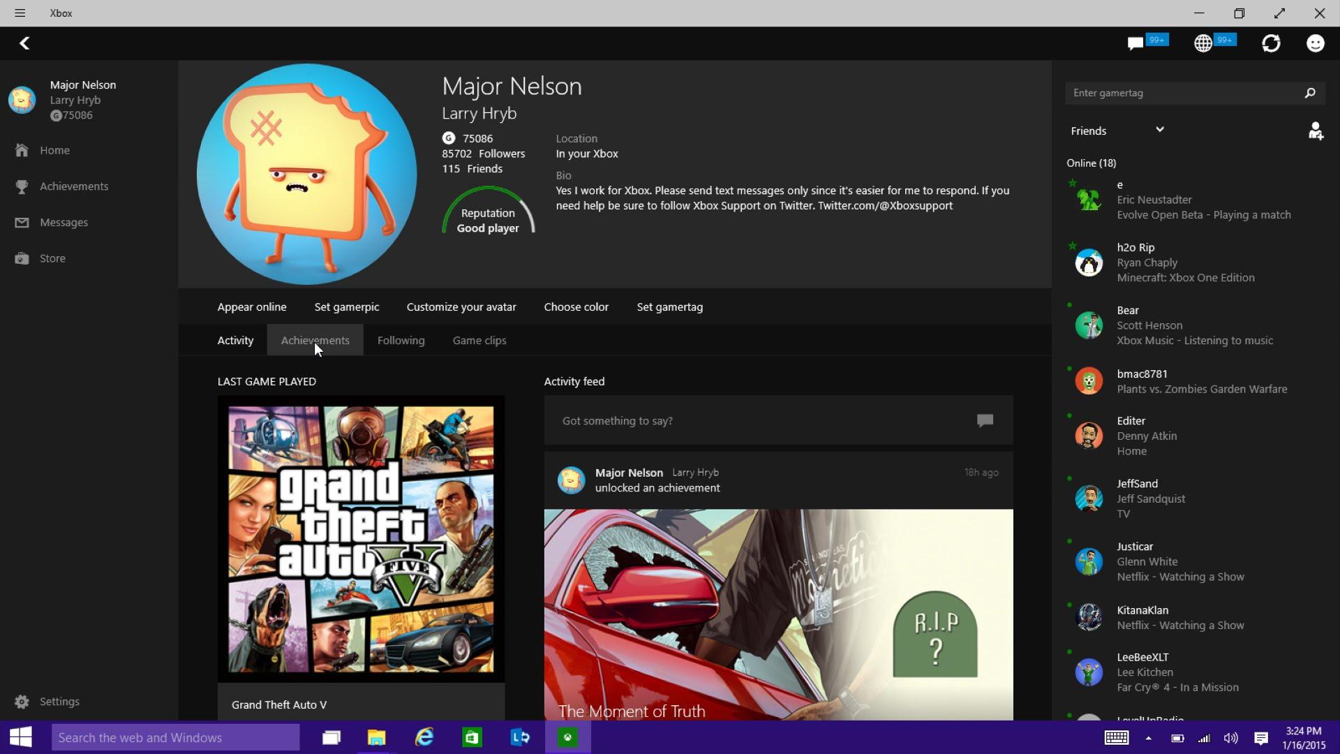 Магазин Xbox, запущенный через одноимённое приложение в Windows 10