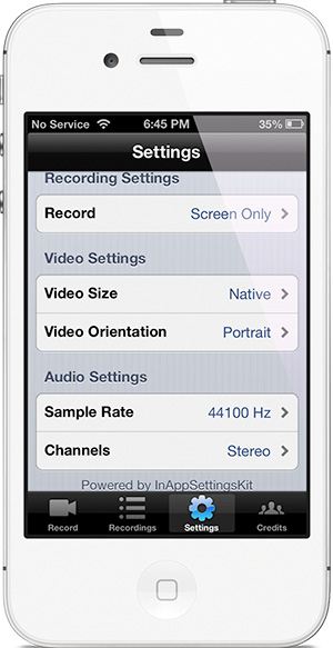 Настройки RecordMyScreen