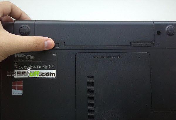 Вытащите батарею из ноутбука