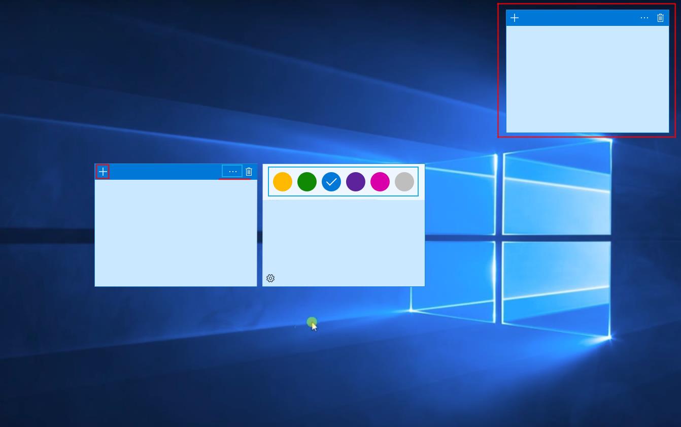 Несколько стикеров для рабочего стола в Windows 10