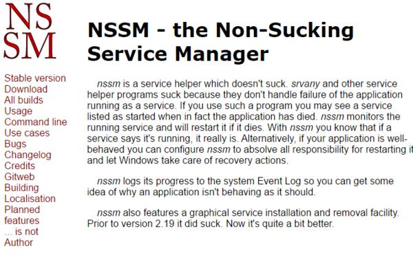 Официальный сайт Nssm