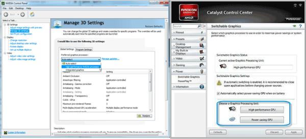 Выбор дискретного видео для NVidia и AMD