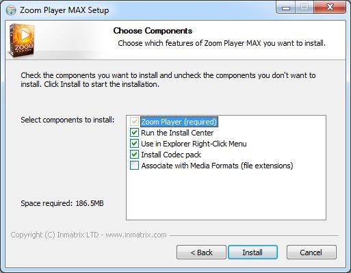 Окно настроек установки Zoom Player