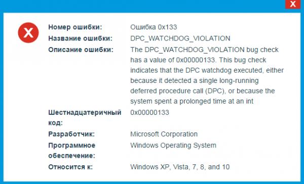 Ошибка 0x00000133 с именем dpc watchdog violation