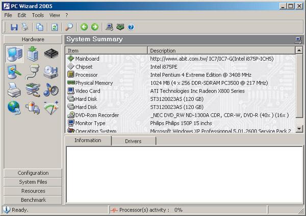 Рис. 4. Главное окно утилиты PC Wizard 2005