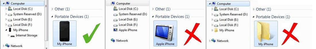 подключенное устройство отображается как iPhone, iPad или iPod touch, а не как папка с иконкой iPhone