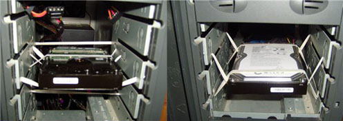 Подвесить жесткий диск для устранения шума