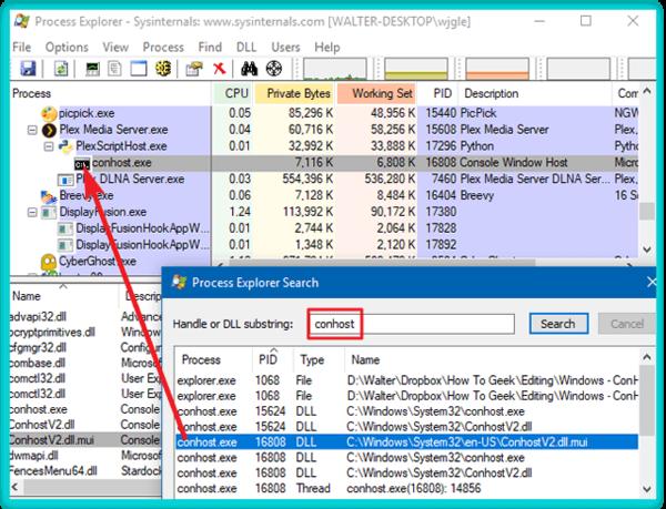 Поиск источника процесса conhost.exe с помощью Process Explorer