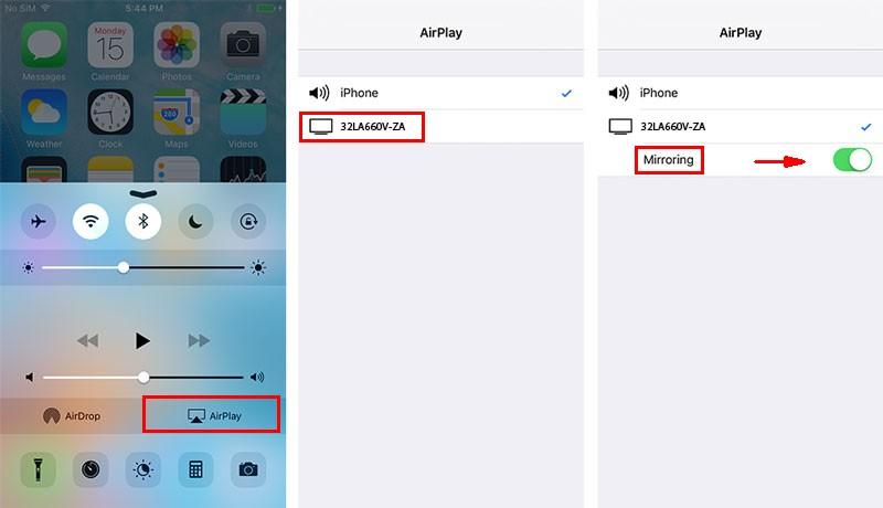 Включение AirPlay на айфонах 4, 5, 6, 7, 8, 9 версий
