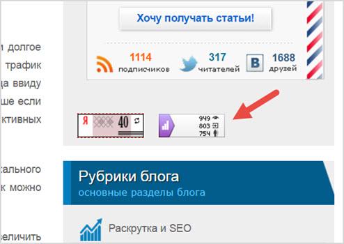 пример счетчика Яндекс Метрика на сайте